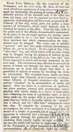 Newspaper article describing amendments made to the Post Office, 1852