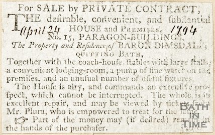 Newspaper article advertising the sale of fifteen Paragon Buildings, 1794