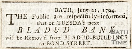 Newspaper article announcing the removal of Bladud Bank from Bladud Buildings, 1794