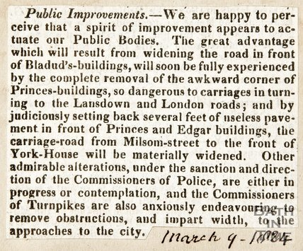 Newspaper article announcing the widening of the roads in front of Bladud Buildings, 1824