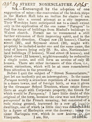 Newspaper article proposing improvements to the city, 1865
