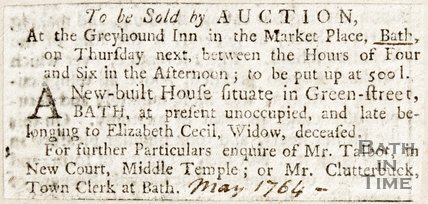 Newspaper article advertising the sale of the New House in Green Street, 1764