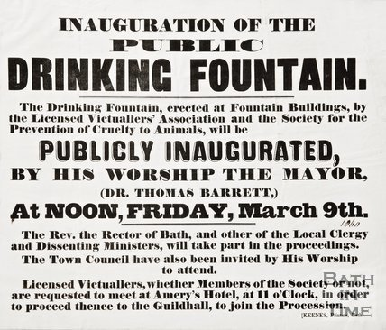 Poster advertising the inauguration of the Public Drinking Fountain by Lansdown Road, 1860
