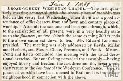 Newspaper article concerning Broad Street Wesleyan Chapel, 1857