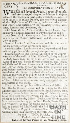 Newspaper article concerning disputes over St. Michael's, Parish of Bath, 1791