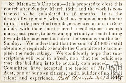 Newspaper article concerning the refurbishment of St, Michael's Church, 1835