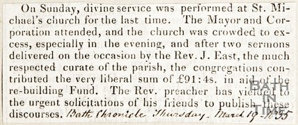 Newspaper article describing the last service at St Michael's before refurbishment, 1835