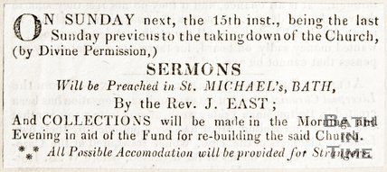 Newspaper article advertising the last Sunday service before refurbishment of St Michael's, 1835
