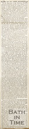 Newspaper article regarding the late Rev. John Richards, 1825