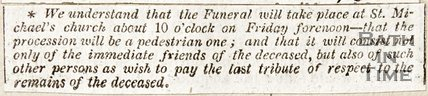 Newspaper article detailing when the funeral of John Richards will take place