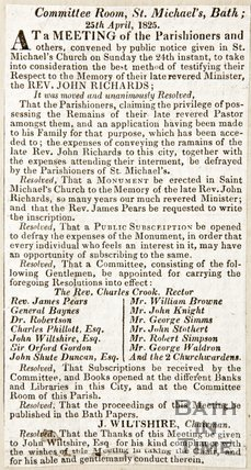 Newspaper article concerning the Committee Rooms, St. Michael's, Bath, 1825