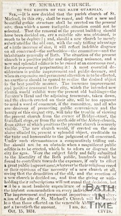 Newspaper article concerning the replacement of St Michael's Church, 1834
