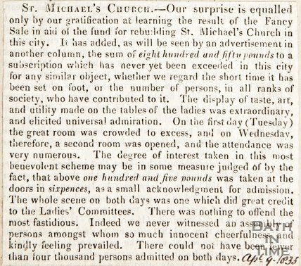 Newspaper article regarding the fancy sale which added to the fund for the new St. Michael's Church, 1835