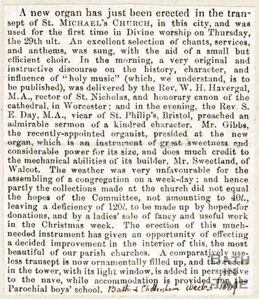 Newspaper article regarding a new organ at St. Michael's Church, 1849