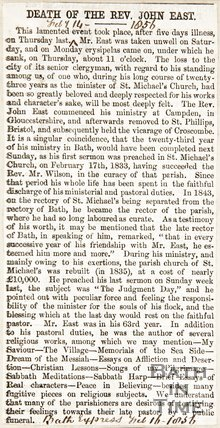 Newspaper article regarding the death of Rev. John East, 1856