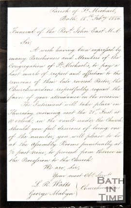 Handwritten letter to the Parish of St. Michael's, Bath from the Church Wardens expressing a desire to pay final respects to Rev. John East, 1856