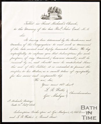 Handwritten letter regarding the funds towards a tablet in St. Michael's Church in remembrance of Rev. John East, from the Church Wardens, 1856