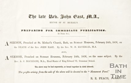Advertisement of sermons regarding the late Rev. John east M.A. at St. Michael's Church, 1856