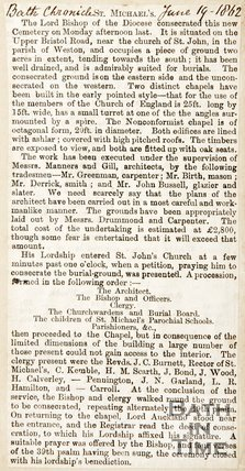 Newspaper article regarding the consecration of the new cemetery at St. Michaels Church, 1862