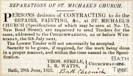Newspaper article regarding the reparations of the St. Michael's Church, 1853