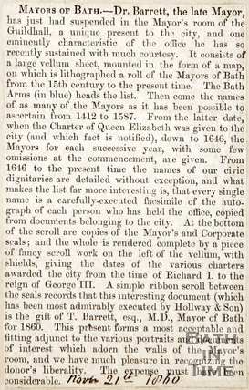 Newspaper article describing the unique present that Dr. Barrett brought to the Mayors room at the Guildhall, 1860