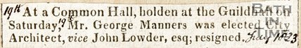 Newspaper article announcing the appointment of Mr John Manners. as city architect, 1823