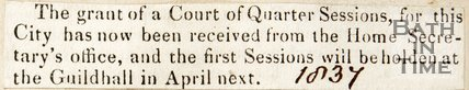 Newspaper article announcing a grant of a Court of Quarter Sessions to the City of Bath from the Home Secretary's Offices, 1832
