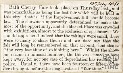 Newspaper article describing the Bath Cherry Fair, 1851