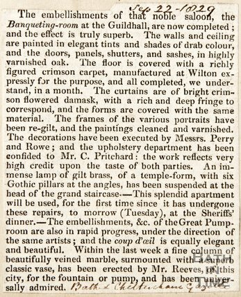 Newspaper article detailing the furnishings of the Noble Saloon (Banqueting Hall) the Guildhall, 1829