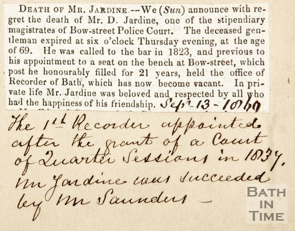 Newspaper article announcing the death of Mr Jardine, 1860