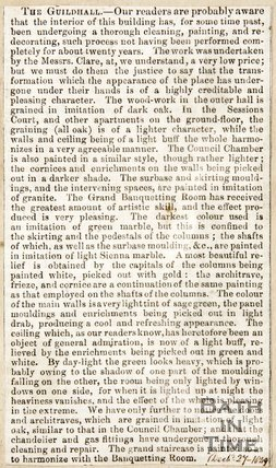 Newspaper article giving details of the renovation of the interior of the Guildhall 1849