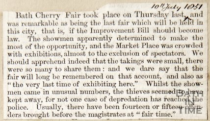 Newspaper article announcing the City of Bath in 1851 is going to discontinue fairs by Mayor William Long and Clerk P. George