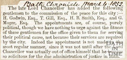 Newspaper article listing gentlemen added to the commission by the late Lord Chancellor, 1852