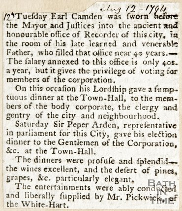 Newspaper article regarding swearing of the Earl of Camden in front of the Mayor of Bath, 1794