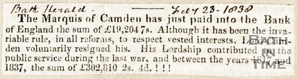 Newspaper article concerning payment of the Marquis of Camden into the Bank of England, 1838