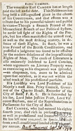 Newspaper article noting the death of the Earl of Camden, 1794
