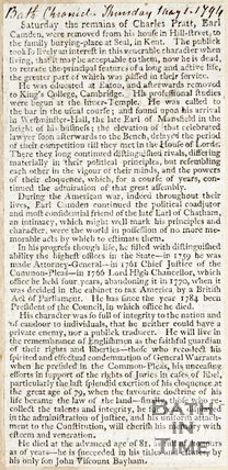 Newspaper article regarding the funeral arrangements of the Earl of Camden, 1794