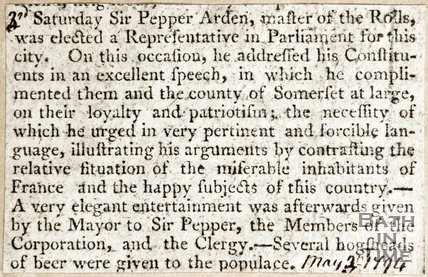 Newspaper article announcing the election of Sir Pepper Arden, Master of the Rolls as a representative in Parliament for Bath, 1794