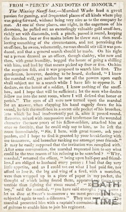 Newspaper article regarding the tale of Marshal Wade's missing snuff box