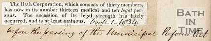 Newspaper article announcing the Bath Corporation now has 13 medical and 10 legal persons, 1834