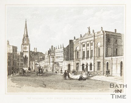 The Guildhall, High Street and St. Michael's Church, Bath c.1852
