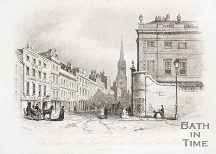 The Christopher Hotel, Market Place, High Street and St Michael's Church, Bath 1844