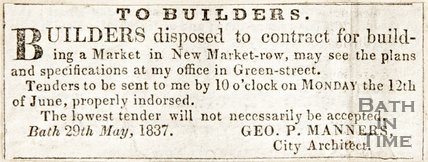 Newspaper article announcing plans for the new market in New Market Row at Geo P. Manners Office in Green Street, 1837