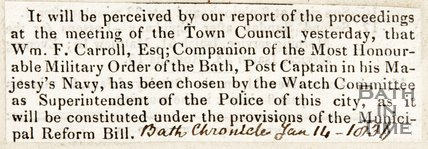 Newspaper article concerning the Watch Committee of the Town Council of Bath making William F. Carroll the Superintendent of the Police