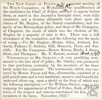 Newspaper article describing the election of Mr Hughes as the new Chief of Police, November 1857