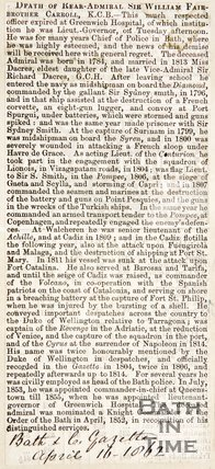 Newspaper article announcing the death of Rear Admiral Sir William Fairbrother Carroll, 1862