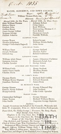 Leaflet listing the members of the Town Council of Mayor Alderman after the passing of the Municipal Reform Act, December 1835