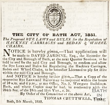 Newspaper article announcing the proposed by-laws and laws of the City of Bath Act 1851, 1852
