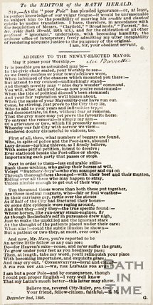 A letter to the editor of the Bath Herald critiquing the standing Mayor, 1846