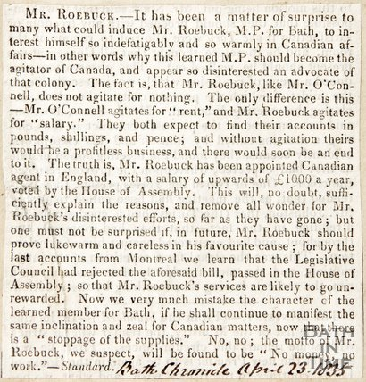 Newspaper article regarding the rejection of Mr Roebuck's petition to sit and vote in the House of Commons, 1835